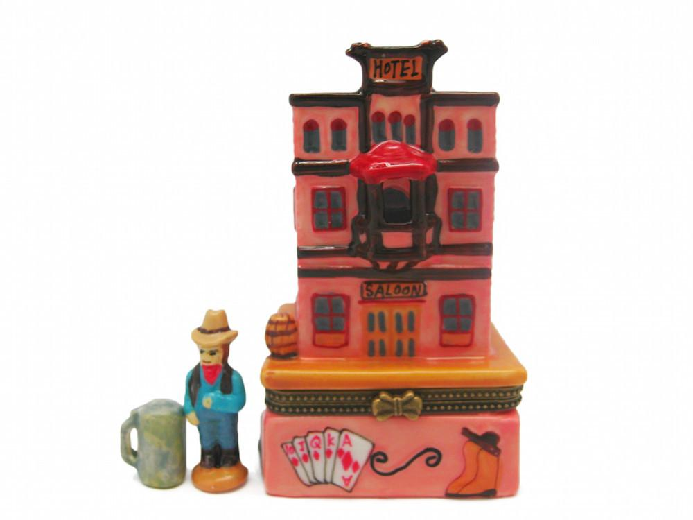 Western Saloon and Hotel Treasure Boxes - Collectibles, Figurines, General Gift, Hinge Boxes, Hinge Boxes-Western, Home & Garden, Jewelry Holders, Kids, Toys, Western