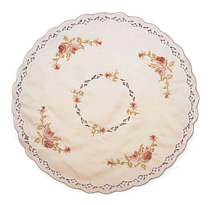 Round Lace Table Linen Red Rose -1