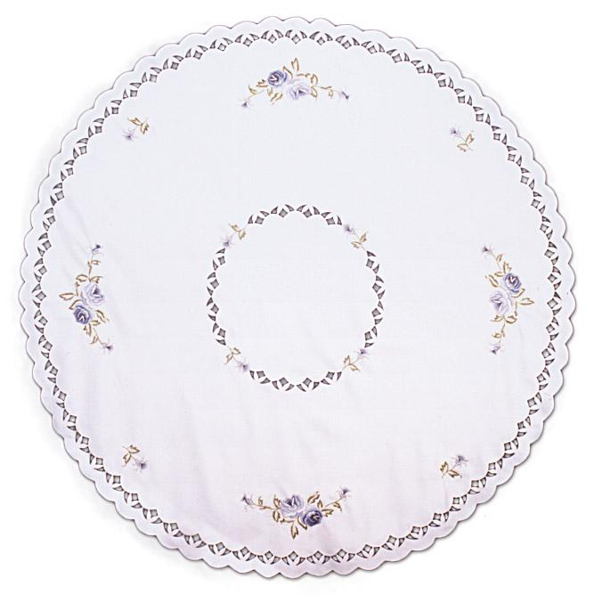 Round Lace Table Linen Blue Rose