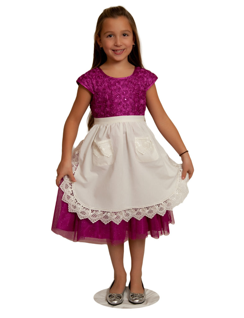 Deluxe Girls Victorian Lace Costume Half Apron Beige Ages 4-16 - $10 - $20, Apparel- Aprons - Half, Apparel-Costumes, Apparel-Kitchenware, CT-700, Ecru, General Gift, s, Top-GNRL-A, White