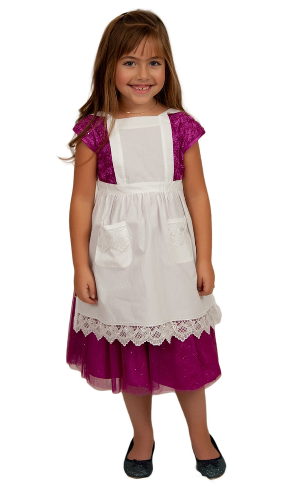 Deluxe Girls Victorian Lace Costume Full Apron Beige Ages 2-8 - $10 - $20, Apparel-Costumes, CT-700, Deluxe, Ecru, General Gift, Kids, lace, Top-GNRL-A, White