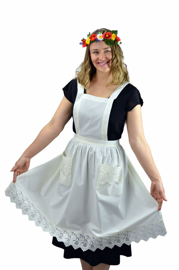Deluxe Adult Victorian Lace Costume Full Apron White - $20 - $30, Apparel- Aprons - Full, Apparel-Costumes, Apparel-Kitchenware, CT-700, Ecru, General Gift, lace, PS-Party Favors, Top-GNRL-A, victorian, White - 2 - 3