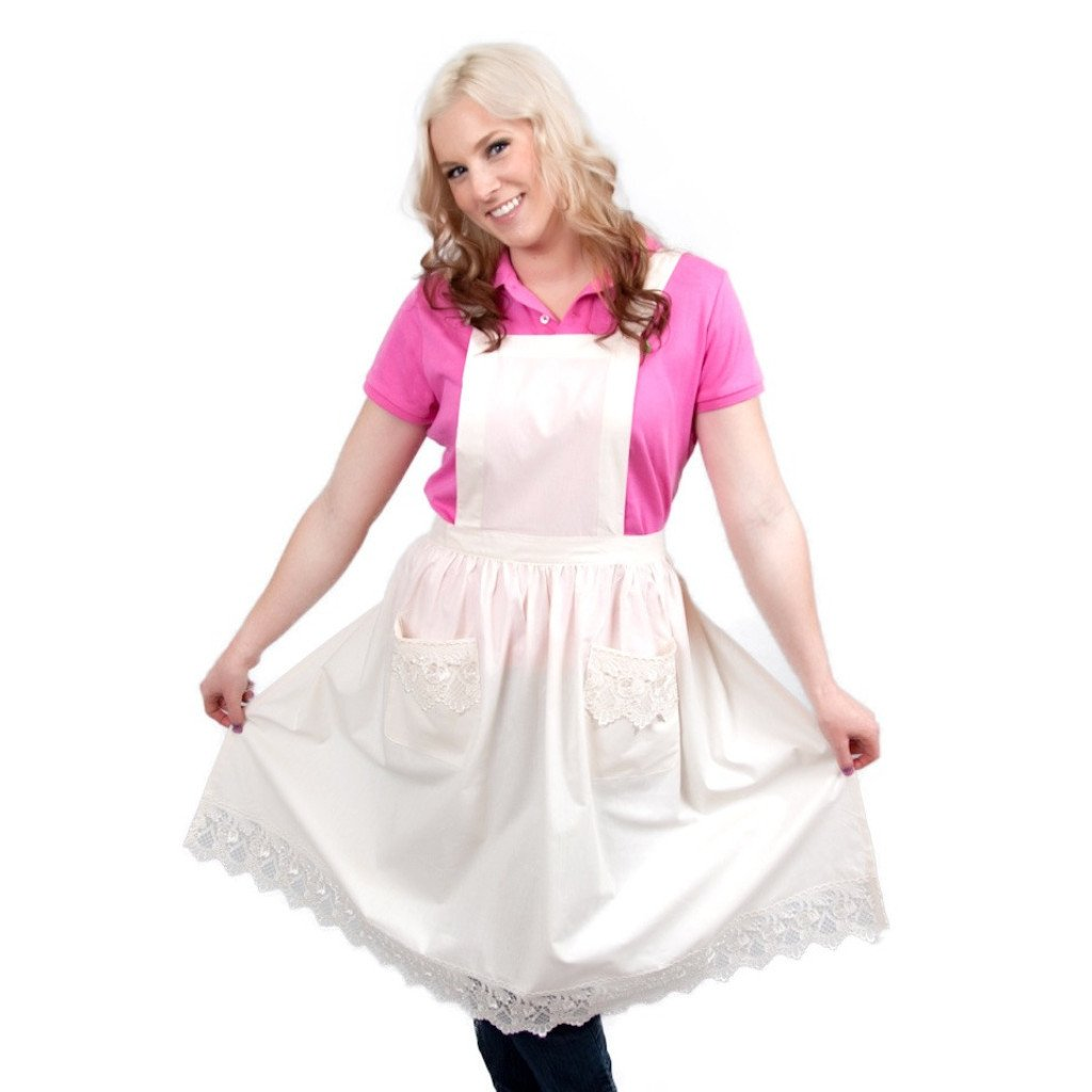 Deluxe Adult Victorian Lace Costume Full Apron White - $20 - $30, Apparel- Aprons - Full, Apparel-Costumes, Apparel-Kitchenware, CT-700, Ecru, General Gift, lace, PS-Party Favors, Top-GNRL-A, victorian, White - 2