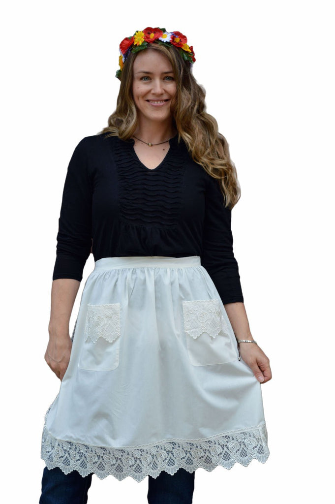 Deluxe Adult Victorian Lace Costume Half Apron White - $20 - $30, Apparel- Aprons - Half, Apparel-Costumes, Apparel-Kitchenware, CT-700, Ecru, General Gift, lace, Top-GNRL-A