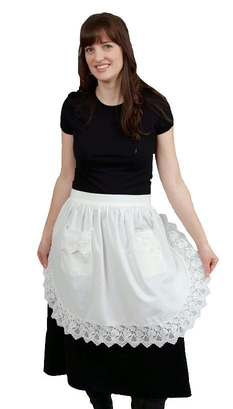 Deluxe Adult Victorian Lace Costume Half Apron White - $20 - $30, Apparel- Aprons - Half, Apparel-Costumes, Apparel-Kitchenware, CT-700, Ecru, General Gift, lace, Top-GNRL-A - 2