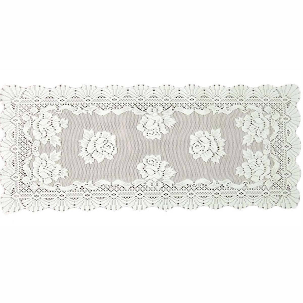 ALPINE ROSE ECRU TABLE RUNNER AND TABLECLOTH