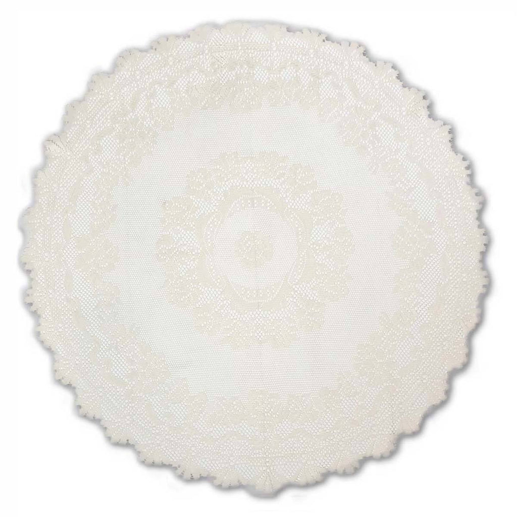 ALPINE ROSE/DOILY AND ROUND ECRU LINEN