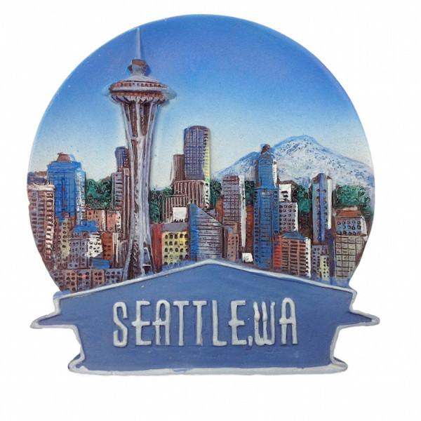 Seattle Souvenir Skyline Banner Magnet - Cities & States, Collectibles, General Gift, Home & Garden, Kitchen Magnets, Magnets-Refrigerator, PS-Party Favors, Seattle