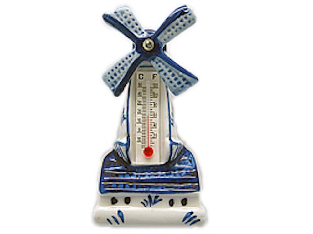 Ceramic Windmill Thermometer Magnet - Collectibles, Delft Blue, Dutch, Home & Garden, Kitchen Magnets, Magnets-Delft, Magnets-Dutch, Magnets-Refrigerator, PS-Party Favors, Thermometer, Top-DTCH-B, Windmills