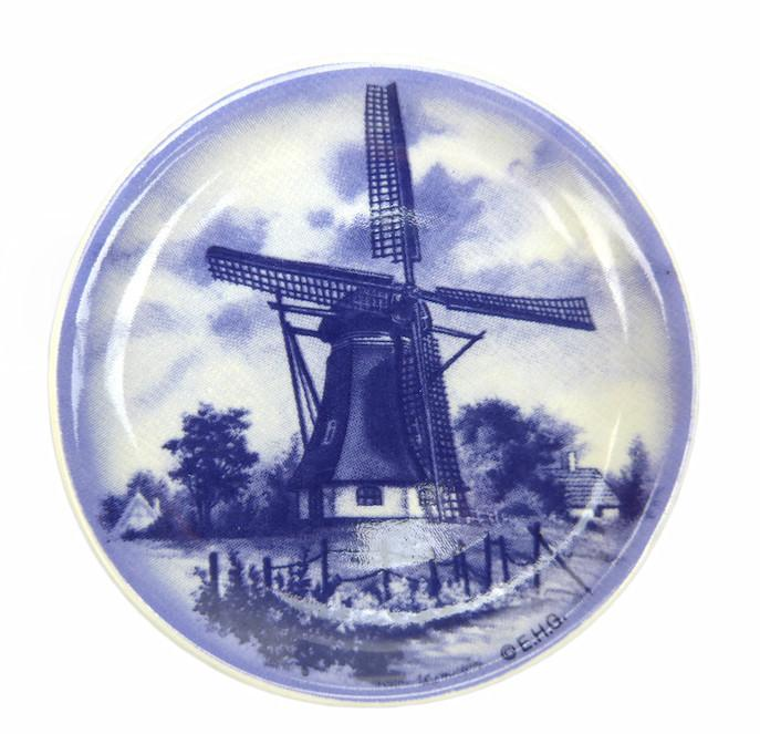 Windmill Ceramic Plate Refrigerator Magnet - Collectibles, Delft Blue, Dutch, Home & Garden, Kitchen Magnets, Magnets-Delft, Magnets-Dutch, Magnets-Refrigerator, PS-Party Favors, Top-DTCH-B, Windmills