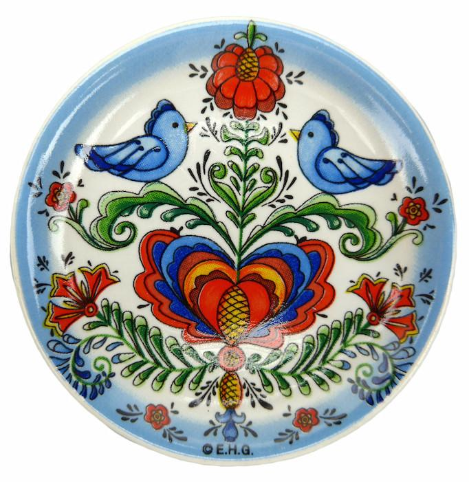 Lovebirds Souvenir Refrigerator Magnet Plate - Below $10, Collectibles, Home & Garden, Kitchen Magnets, Magnets-Refrigerator, PS-Party Favors, Rosemaling, Scandinavian, swedish, Top-SWED-A