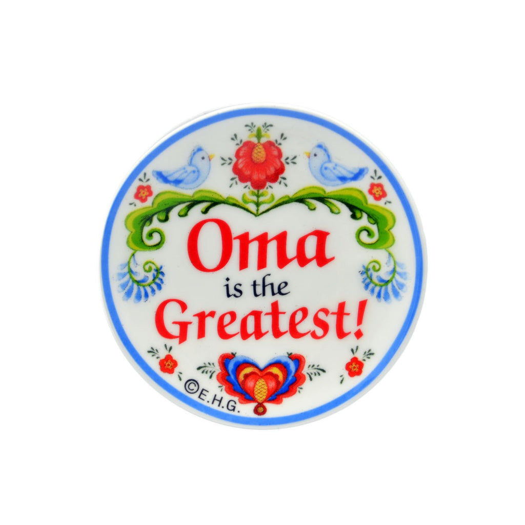inchesOma is the Greatest inches Love Birds Magnet Plate German Gift - CT-100, CT-102, CT-210, CT-220, Magnet Plate, Magnets-Refrigerator, New Products, NP Upload, Oma, Rosemaling, SY:, SY: Oma Greatest, SY: Oma is the Greatest, Under $10, Yr-2016
