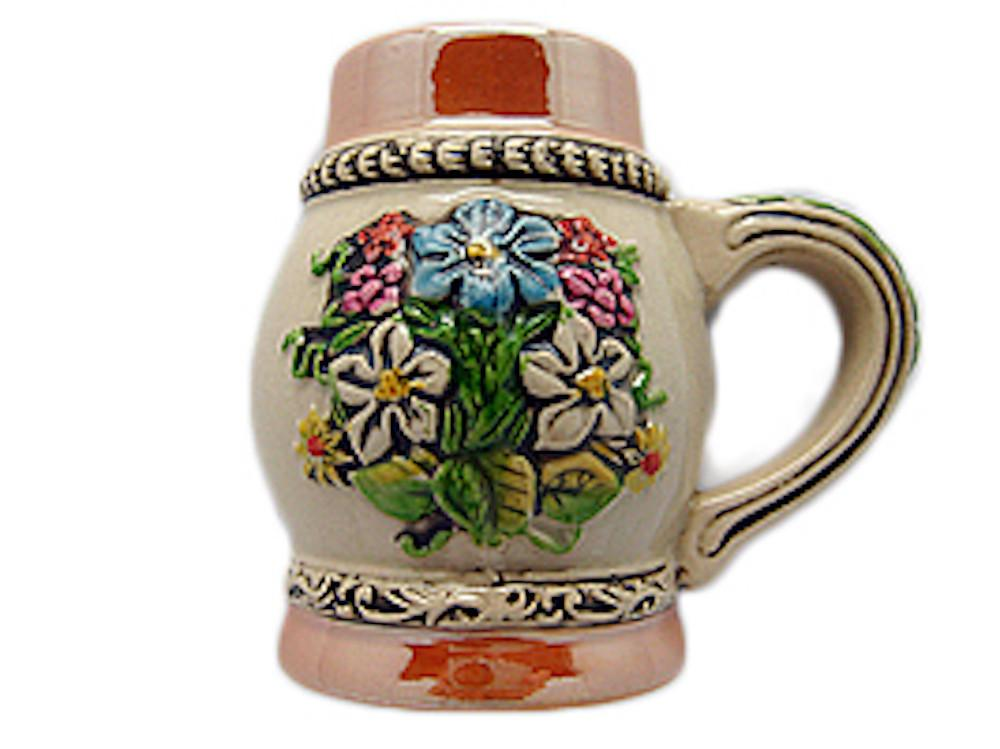 Oktoberfest Beer Stein Refrigerator Magnet German Flower - Alcohol, Beer Stein-Magnets, Collectibles, CT-520, German, Germany, Home & Garden, Kitchen Magnets, Magnet-Stein, Magnets-German, Magnets-Refrigerator, PS- Oktoberfest Party Favors, PS-Party Favors, PS-Party Favors German, Shots-Ceramic, Top-GRMN-B