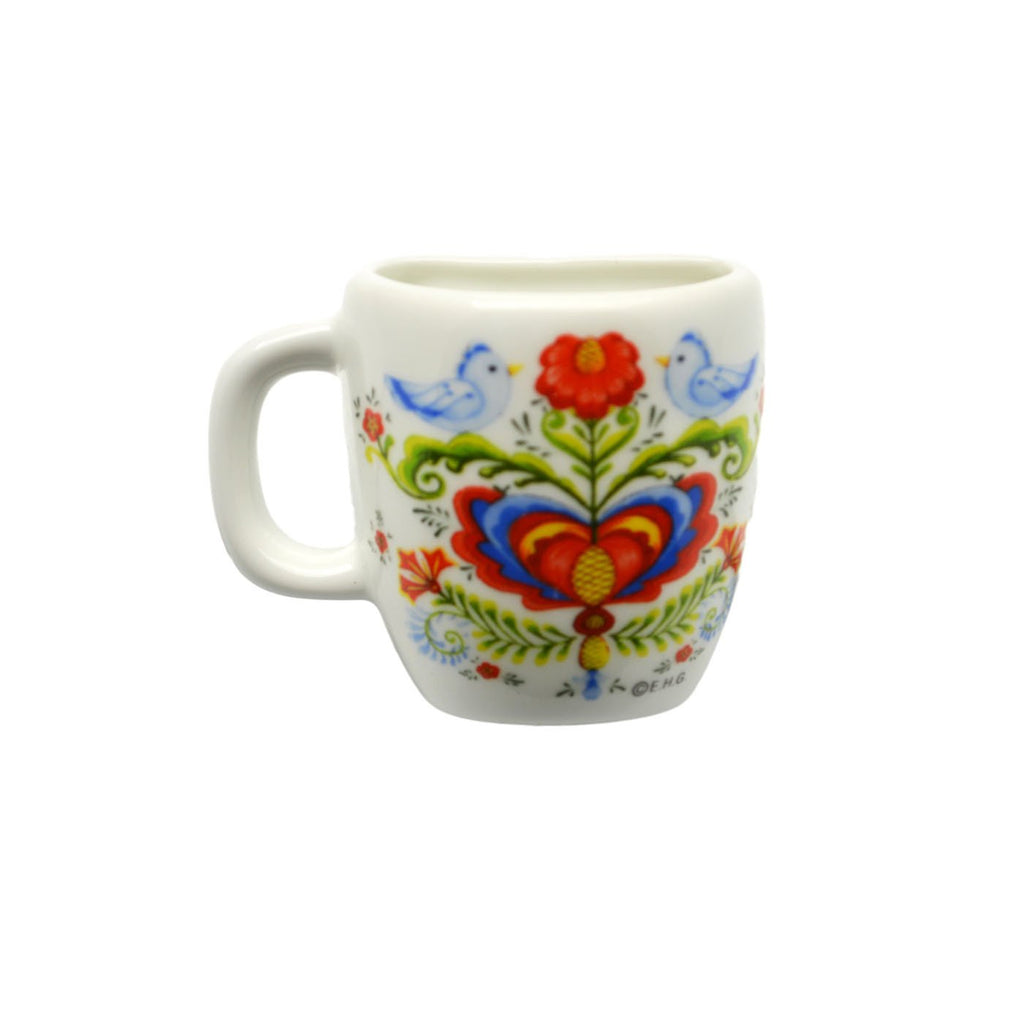 Rosemaling and Lovebirds Decorative Mug Magnets - Magnet Mug, Magnets-Refrigerator, New Products, NP Upload, Rosemaling, Scandinavian, Top-SWED-B, Under $10, Yr-2016