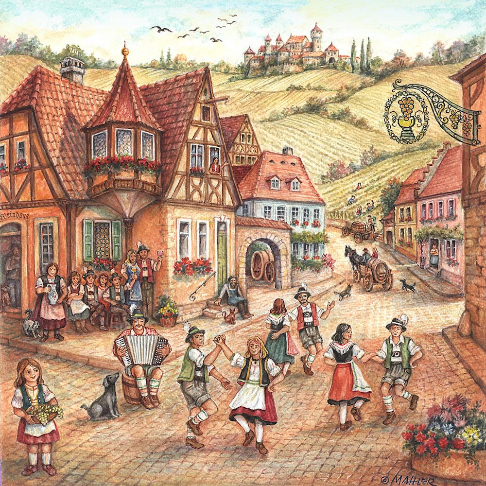 Village Dancers Scene German Gift Magnet Tile - Collectibles, CT-220, CT-520, German, Germany, Home & Garden, Joseph Mahler, Kitchen Magnets, Magnet Tiles, Magnet Tiles-Scenic, Magnets-Refrigerator, PS-Party Favors, PS-Party Favors German