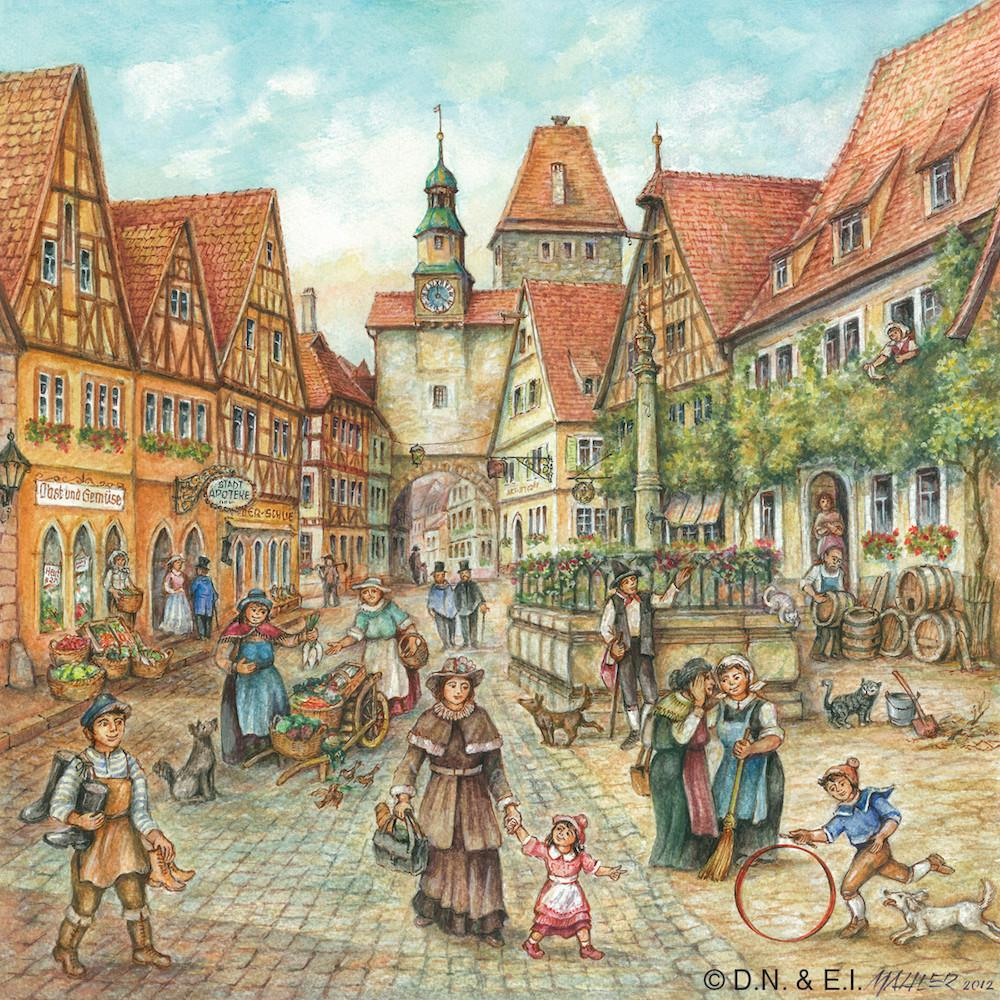 Village Street Scene German Gift Magnet Tile - Collectibles, CT-220, CT-520, German, Germany, Home & Garden, Joseph Mahler, Kitchen Magnets, Magnet Tiles, Magnet Tiles-Scenic, Magnets-Refrigerator, PS-Party Favors, PS-Party Favors German