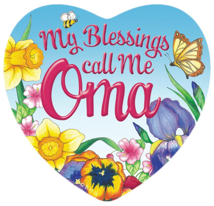 Collectible Heart Magnet: My Blessings Call me Oma - CT-100, CT-102, CT-210, CT-220, Dutch, Magnets-Refrigerator, New Products, NP Upload, Oma, Oma & Opa, Rosemaling, SY:, SY: Blessings Call me Oma, Under $10, Yr-2015