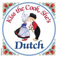 Dutch Souvenirs Magnet Tile Kiss Dutch Cook - Collectibles, CT-210, Dutch, Kissing Couple, Kitchen Decorations, Kitchen Magnets, Magnet Tiles, Magnet Tiles-Dutch, Magnets-Refrigerator, PS-Party Favors, SY: Kiss Cook-Dutch, Top-DTCH-B, Wife