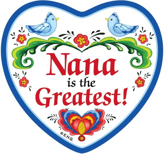 inchesNana Is The Greatest inches Magnetic Heart Tile - CT-100, CT-101, Magnet Tiles-Heart, Magnets-Refrigerator, Nana, New Products, NP Upload, Rosemaling, SY:, SY: Nana Greatest, Under $10, Yr-2016