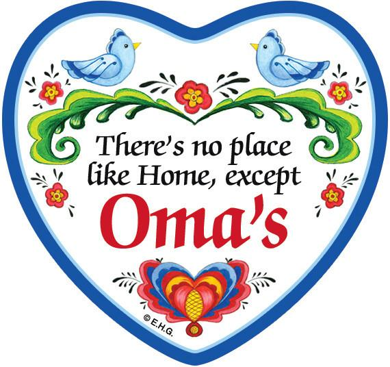 inchesNo Place Like Home Except Oma's inches Magnetic Heart Tile - CT-100, CT-102, CT-210, CT-220, Magnet Tiles-Heart, Magnets-Refrigerator, New Products, NP Upload, Oma, Rosemaling, SY:, SY: No Place Like Omas, Under $10, Yr-2016