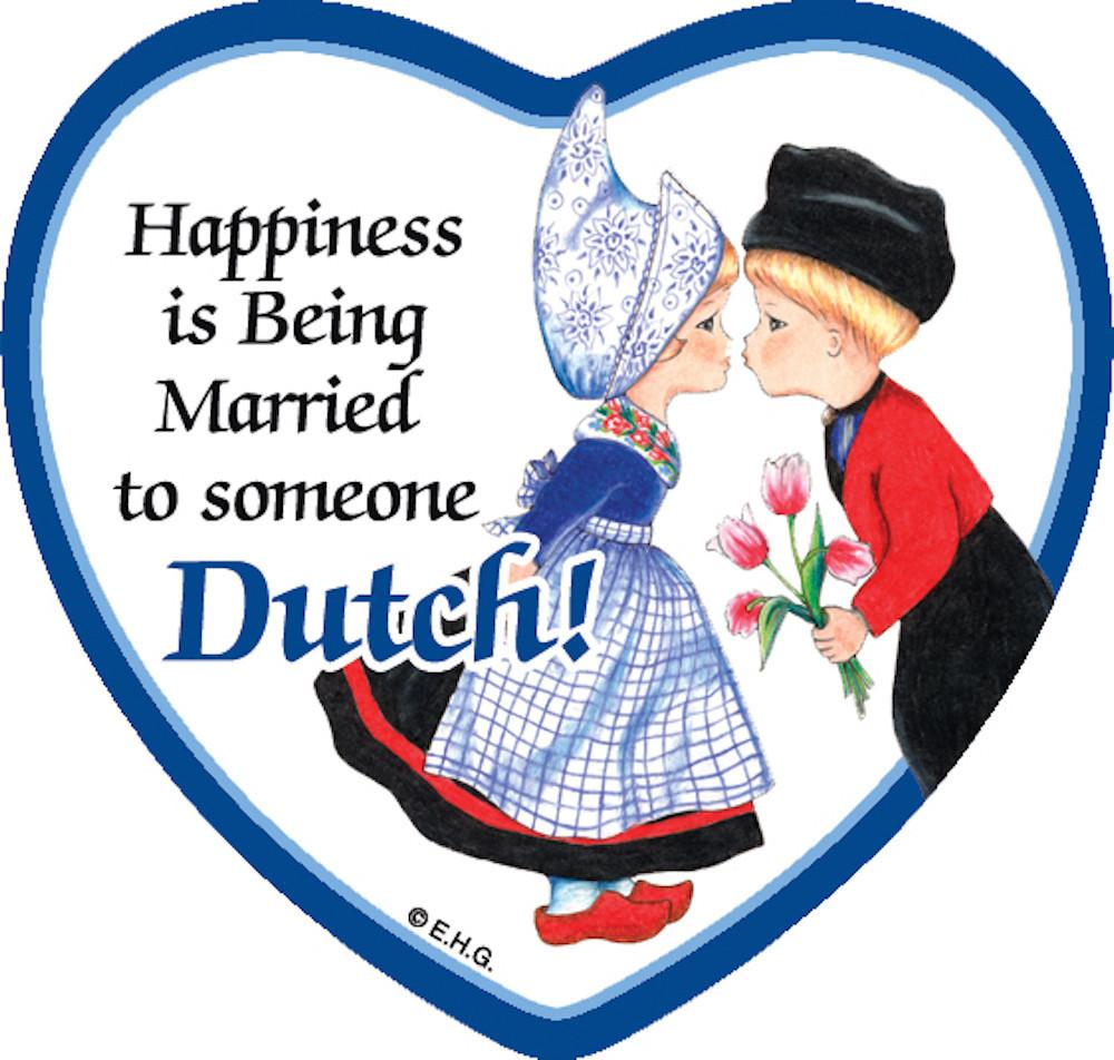 Refrigerator Tile Married To Dutch - Collectibles, CT-210, Dutch, Heart, Home & Garden, Kissing Couple, Kitchen Decorations, Kitchen Magnets, Magnet Tiles, Magnet Tiles-Dutch, Magnet Tiles-Heart, Magnets-Dutch, Magnets-Refrigerator, PS-Party Favors, SY: Happiness Married to Dutch, Top-DTCH-B