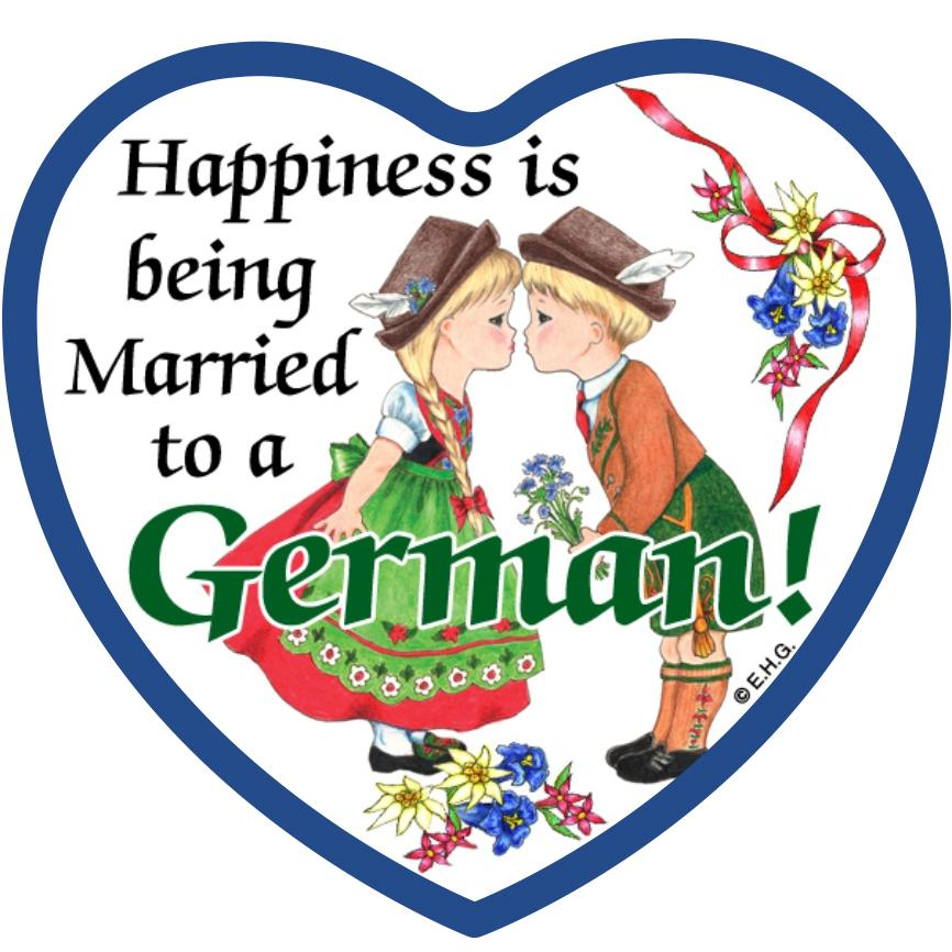 Magnetic Tile Married to German - Collectibles, CT-106, CT-220, CT-520, German, Germany, Heart, Home & Garden, Kissing Couple, Kitchen Magnets, Magnet Tiles, Magnet Tiles-German, Magnet Tiles-Heart, Magnets-German, Magnets-Refrigerator, PS-Party Favors, SY: Happiness Married to a German, Top-GRMN-B