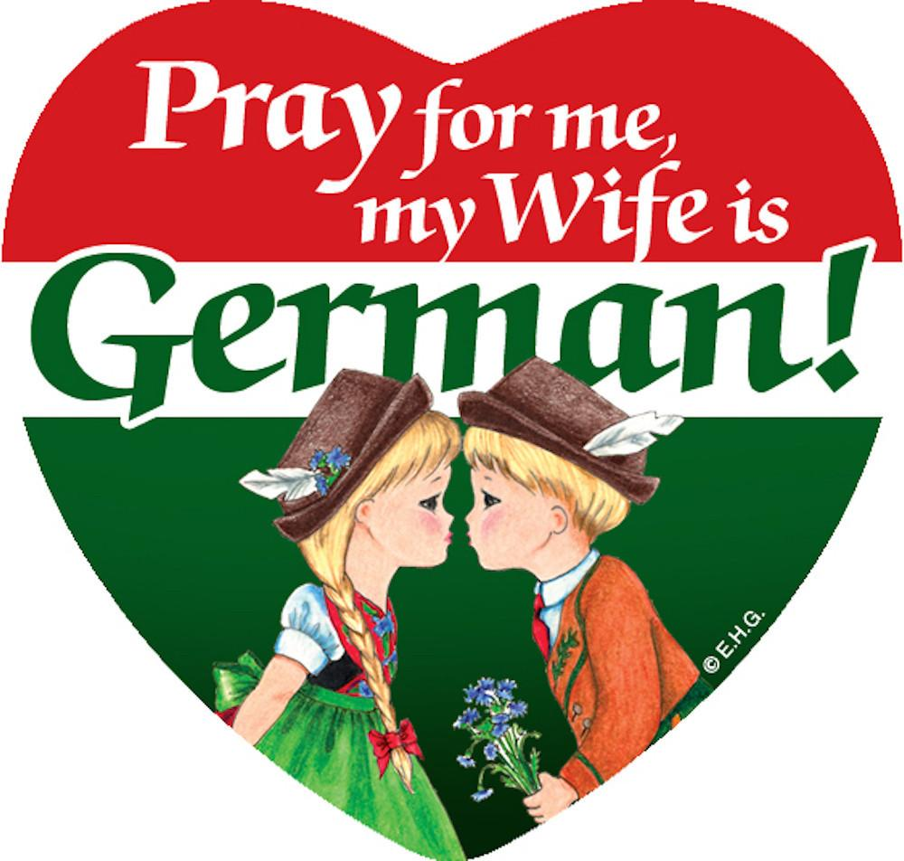 Magnetic Tile German Wife - Collectibles, CT-106, CT-220, CT-520, German, Germany, Heart, Home & Garden, Husband, Kitchen Magnets, Magnet Tiles, Magnet Tiles-German, Magnet Tiles-Heart, Magnets-German, Magnets-Refrigerator, PS-Party Favors, Top-GRMN-B, Wife German