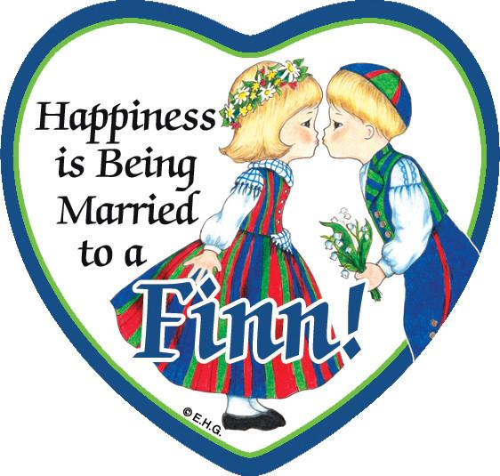 Magnetic Heart Tile: Married To A Finn - CT-215, Finnish, Magnet Tiles-Heart, Magnets-Refrigerator, New Products, NP Upload, SY:, SY: Happiness Married to a Finn, Top-FINN-A, Under $10, Yr-2015