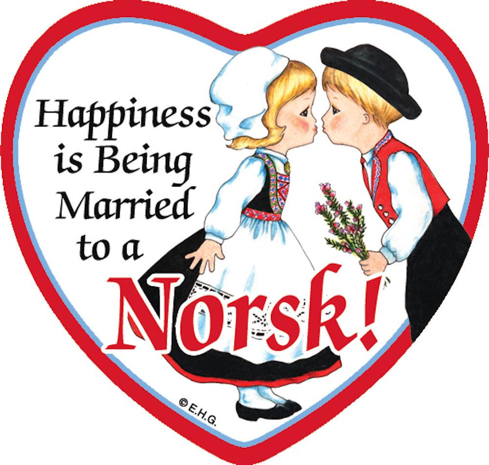 Tile Magnet Married to Norsk - Below $10, Collectibles, CT-240, Heart, Home & Garden, Kissing Couple, Kitchen Magnets, Magnet Tiles, Magnet Tiles-Heart, Magnet Tiles-Norwegian, Magnets-Refrigerator, Norwegian, PS-Party Favors, SY: Happiness Married to Norwegian, Top-NRWY-B
