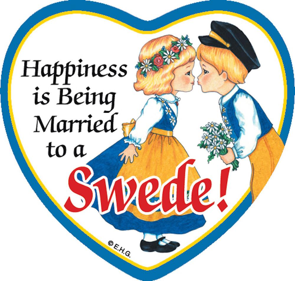 Magnetic Tile Married to Swede - Below $10, Collectibles, Heart, Home & Garden, Kissing Couple, Kitchen Magnets, Magnet Tiles, Magnet Tiles-Heart, Magnet Tiles-Swedish, Magnets-Refrigerator, PS-Party Favors, Scandinavian, Swedish, SY: Happiness Married to Swede, Top-SWED-B