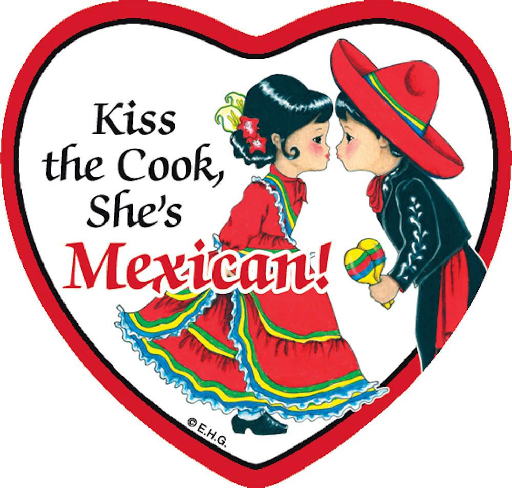 Tile Magnet Mexican Cook - Below $10, Collectibles, CT-235, Home & Garden, Kitchen Magnets, Magnet Tiles, Magnet Tiles-Heart, Magnet Tiles-Mexican, Magnets-Refrigerator, Mexican, PS-Party Favors, SY: Kiss Cook-Mexican, Wife