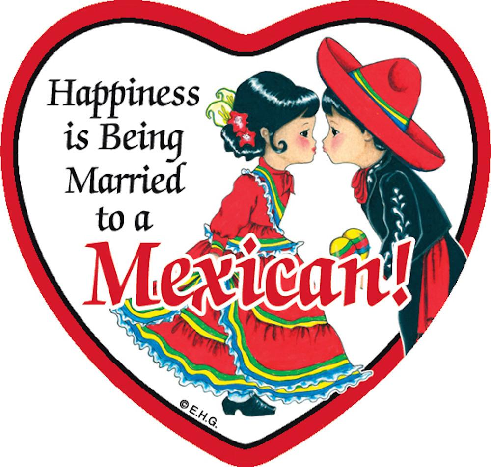 Tile Magnet Married to Mexican - Below $10, Collectibles, CT-235, Home & Garden, Kitchen Magnets, Magnet Tiles, Magnet Tiles-Heart, Magnet Tiles-Mexican, Magnets-Refrigerator, Mexican, PS-Party Favors, SY: Happiness Married to Mexican