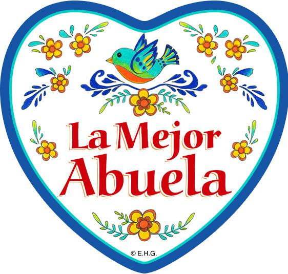 inchesLa Mejor Abuela inches Magnetic Heart Tile - Abuela, CT-100, CT-235, Latino, Magnet Tiles-Heart, Magnets-Refrigerator, New Products, NP Upload, Spanish, SY:, SY: Mejor Abuela, Under $10, Yr-2016