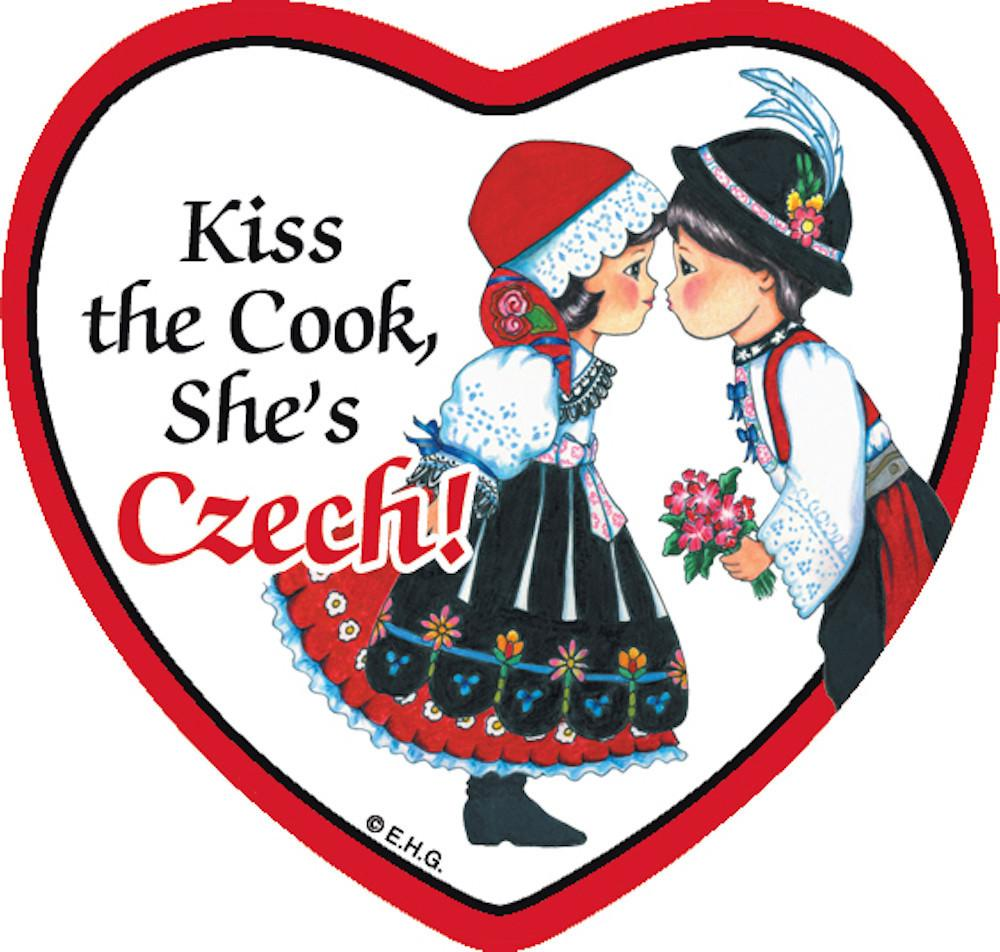 Tile Magnet Czech Cook - Below $10, Collectibles, CT-150, CT-200, Czech, Home & Garden, Kitchen Magnets, Magnet Tiles, Magnet Tiles-Czech, Magnet Tiles-Heart, Magnets-Refrigerator, PS-Party Favors, SY: Kiss Cook-Czech, Wife