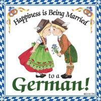 German Gift Idea Magnet Happiness Married To German - Collectibles, CT-106, CT-220, CT-520, German, Germany, Home & Garden, Kissing Couple, Kitchen Magnets, Magnet Tiles, Magnet Tiles-German, Magnets-Refrigerator, PS-Party Favors, SY: Happiness Married to a German, Top-GRMN-B