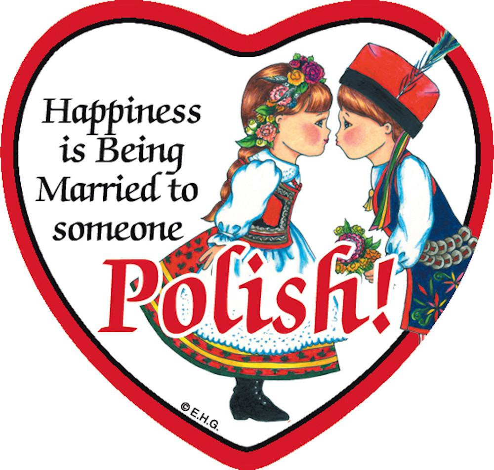 Tile Magnet Married to Polish - Below $10, Collectibles, CT-245, Home & Garden, Kitchen Magnets, Magnet Tiles, Magnet Tiles-Heart, Magnet Tiles-Polish, Magnets-Polish, Magnets-Refrigerator, Polish, PS-Party Favors, SY: Happiness Married to Polish