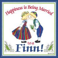 Finnish Souvenirs Magnetic Tile Happiness Married To A Finn - Collectibles, CT-215, Finnish, Home & Garden, Kissing Couple, Kitchen Magnets, Magnet Tiles, Magnet Tiles-Finnish, Magnets-Refrigerator, PS-Party Favors, SY: Happiness Married to a Finn, Top-FINN-A