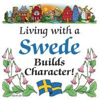 Swedish Souvenirs Magnet Tile Living With Swede - Below $10, Collectibles, Home & Garden, Kitchen Magnets, Magnet Tiles, Magnet Tiles-Swedish, Magnets-Refrigerator, PS-Party Favors, Scandinavian, Swedish, SY: Living with a Swede