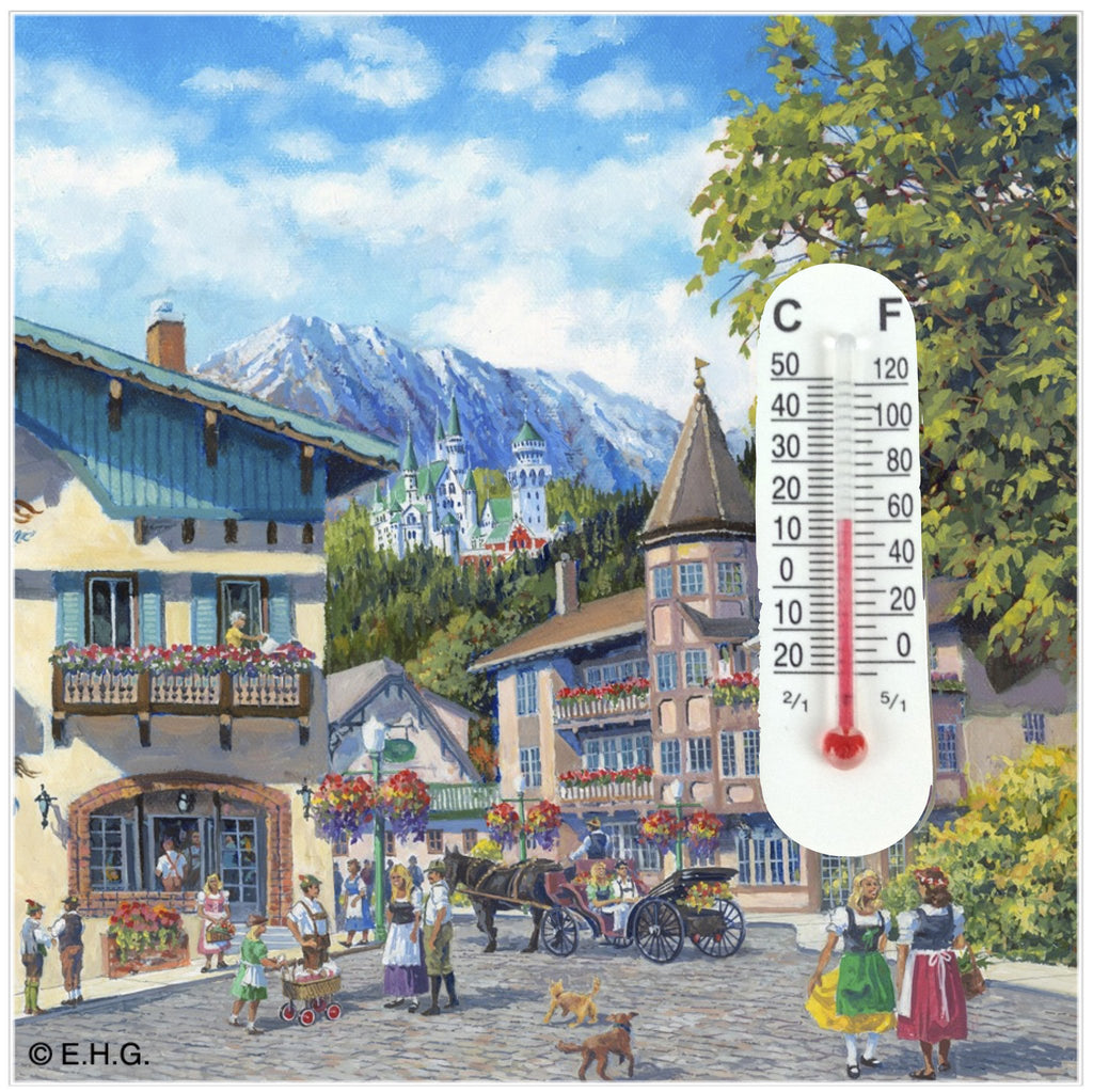 Thermometer Tile Magnet Summer - Collectibles, CT-220, CT-520, German, Germany, Home & Garden, Kitchen Magnets, Magnet Tiles, Magnet Tiles-Scenic, Magnets-Refrigerator, PS-Party Favors, PS-Party Favors German, Thermometer, Top-GRMN-B