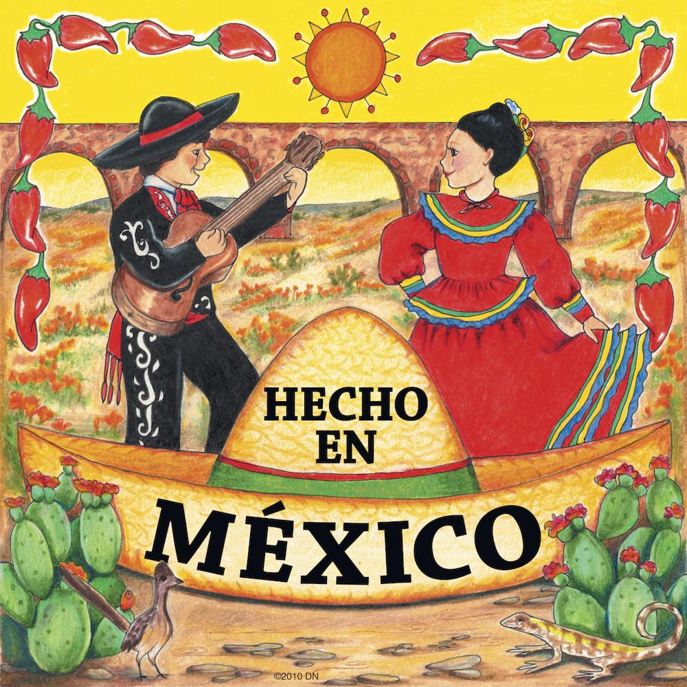 Mexican Gifts Hecho En Mexico Tile Magnet - Below $10, Collectibles, CT-235, Home & Garden, Kitchen Magnets, Magnet Tiles, Magnet Tiles-Mexican, Magnets-Refrigerator, Mexican, PS-Party Favors, SY: Hecho en Mexico