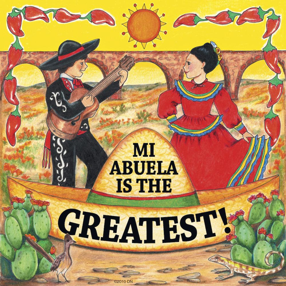 Mexican Gifts Abuela Is Greatest Tile Magnet - Below $10, Collectibles, CT-100, CT-235, Home & Garden, Kitchen Magnets, Latino, Magnet Tiles, Magnet Tiles-Mexican, Magnets-Refrigerator, Mexican, PS-Party Favors, Spanish