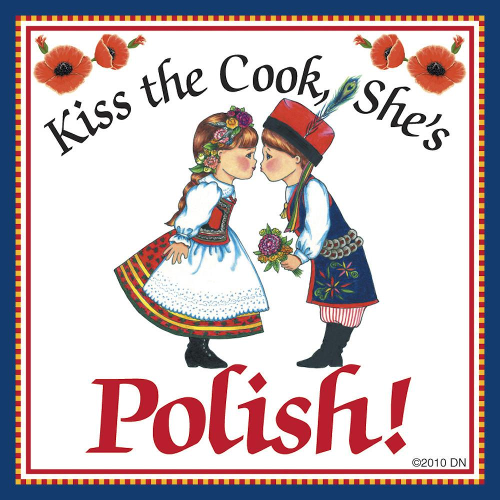 Polish Gift Tile Magnet  inchesKiss Polish Cook inches - Below $10, Collectibles, CT-245, Home & Garden, Kissing Couple, Kitchen Magnets, Magnet Tiles, Magnet Tiles-Polish, Magnets-Polish, Magnets-Refrigerator, Polish, PS-Party Favors, SY: Kiss Cook-Polish, Wife