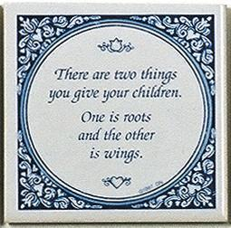 Tile Magnets Quotes: Give Children Roots - Collectibles, Decorations, General Gift, Home & Garden, Kitchen Magnets, Magnet Tiles, Magnet Tiles-Saying, Magnets-Refrigerator, PS-Party Favors, SY: Give Children Wings