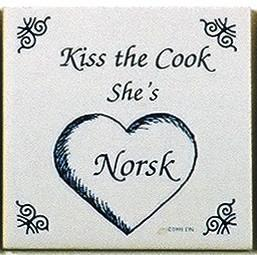 Norwegian Culture Magnet Tile Kiss Norsk Cook - Below $10, Collectibles, CT-205, Danish, Decorations, Home & Garden, Kissing Couple, Kitchen Magnets, Magnet Tiles, Magnet Tiles-Norwegian, Magnets-Refrigerator, Norwegian, PS-Party Favors, SY: Kiss Cook-Norwegian, Wife