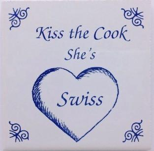 Swiss Culture Magnet Tile Kiss Swiss Cook - Below $10, Collectibles, Decorations, Home & Garden, Kissing Couple, Kitchen Magnets, Magnet Tiles, Magnet Tiles-Swiss, Magnets-Refrigerator, PS-Party Favors, Swiss, SY: Kiss Cook-Swiss, Wife
