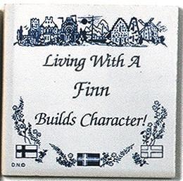 Finnish Culture Magnet Tile Living With Finn - Collectibles, CT-215, Decorations, Finnish, Home & Garden, Kitchen Magnets, Magnet Tiles, Magnet Tiles-Finnish, Magnets-Refrigerator, PS-Party Favors, SY: Living with a Finn