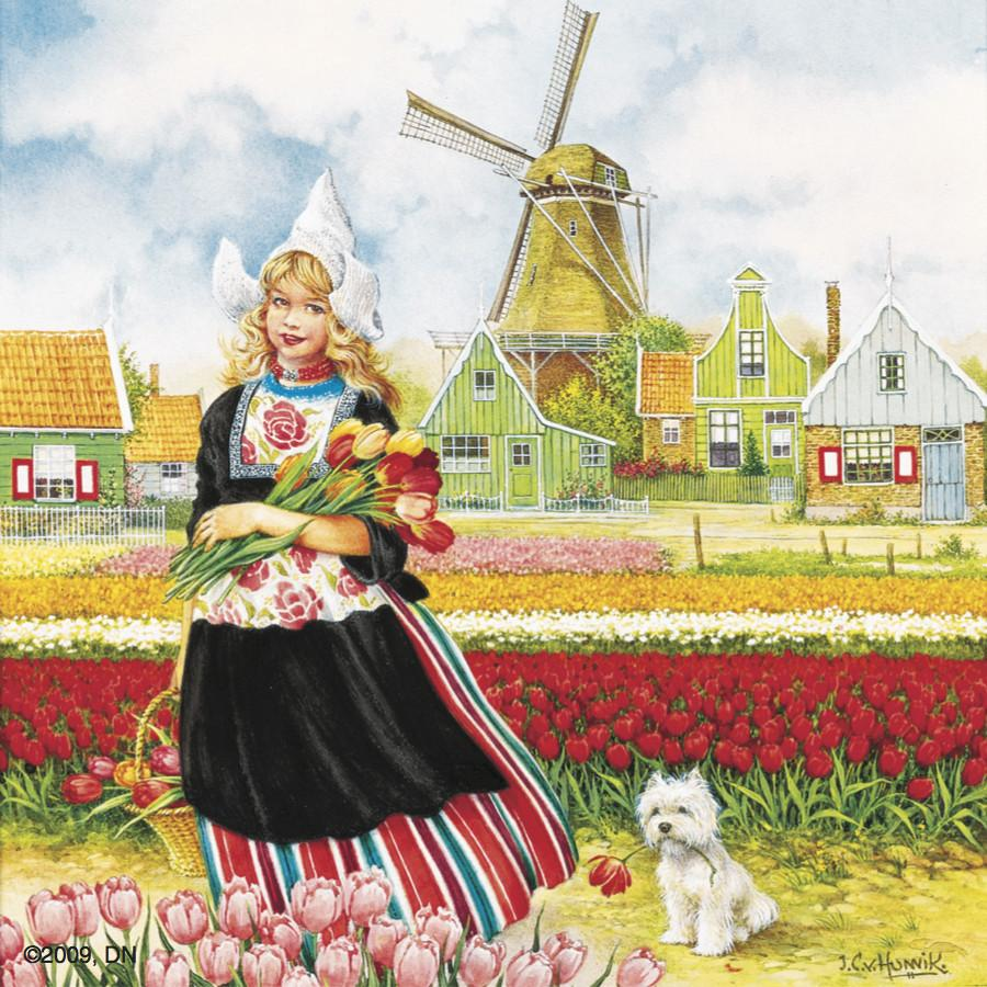 Tulip Time Girl Color Tile Magnet - Collectibles, CT-210, Decorations, Dutch, Home & Garden, Kitchen Decorations, Kitchen Magnets, Magnet Tiles, Magnet Tiles-Scenic, Magnets-Dutch, Magnets-Refrigerator, PS-Party Favors, Top-DTCH-B, Tulips, Van Hunnik