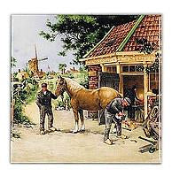 Dutch Gift Blacksmith Color Scenic Plaque - Animal, Below $10, Collectibles, CT-210, Decorations, Dutch, Home & Garden, Tiles-Scenic, Van Hunnik, Windmills