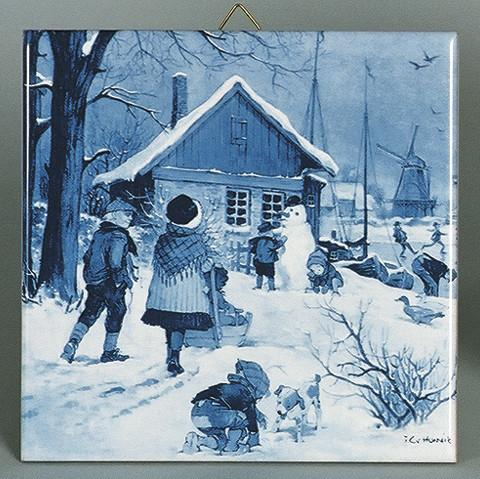 Delft Blue Dutch Skaters Dutch Tile - Below $10, Collectibles, CT-210, Decorations, Dutch, Home & Garden, Tiles-Scenic, Van Hunnik, Windmills