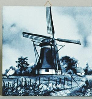 Dutch Scenic Tile Brick Windmill - Below $10, Collectibles, CT-210, Decorations, Dutch, Home & Garden, Tiles-Scenic, Windmills